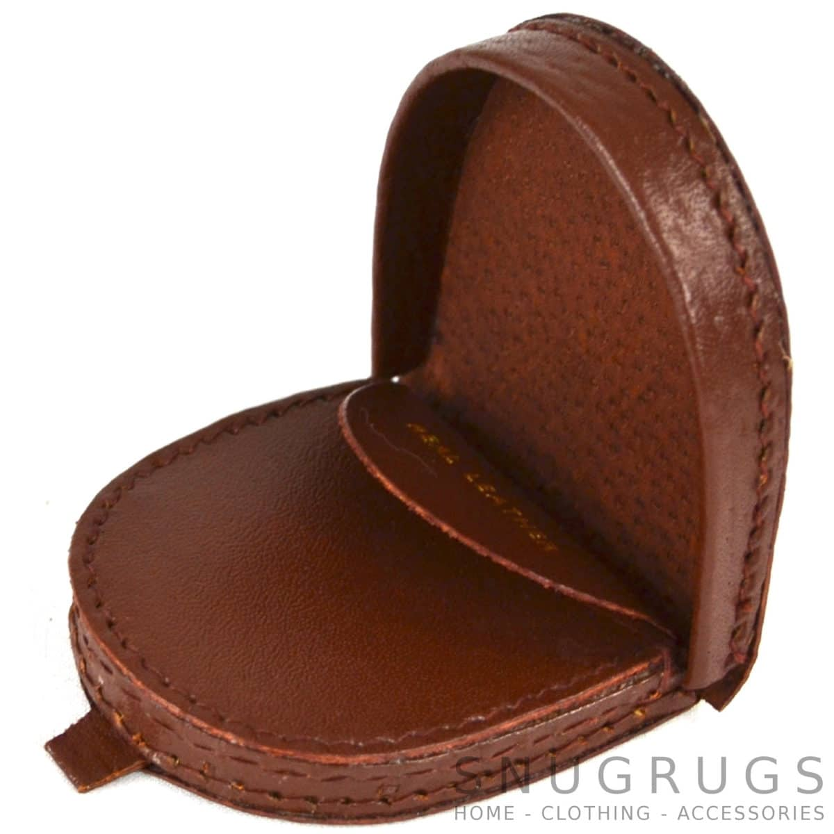 Semi Round Leather Money Tray - Mid Brown