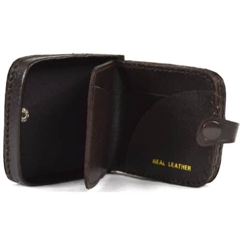 Leather Money Tray with Note Slots - Dark Brown
