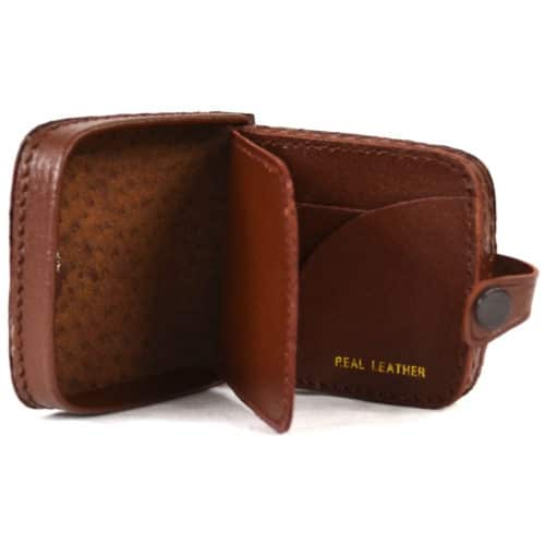 Leather Money Tray with Note Slots - Mid Brown