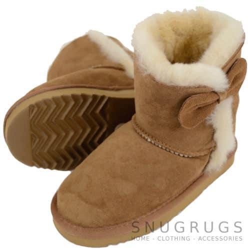 Zara - Kids Sheepskin Boots - Chestnut