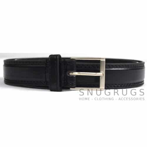 "Leather Lined 1"" Milano Trouser Belt - Black"