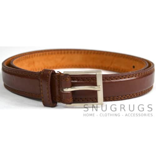 "Leather Lined 1"" Milano Trouser Belt - Brown"