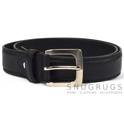 "Leather Lined 1.25"" Milano Trouser Belt - Black"