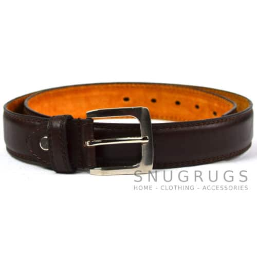 "Leather Lined 1.25"" Milano Trouser Belt - Brown"