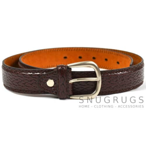 "Leather Lined 1.25"" Snake Grain Milano Belt - Brown"