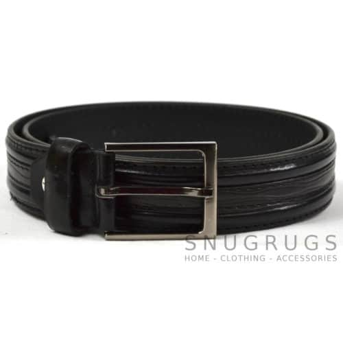 "Leather Lined 1.25"" Stitch Detail Milano Belt - Black"