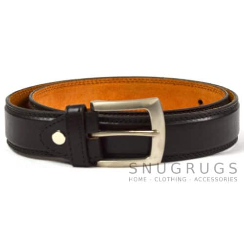 "Leather Lined 1.25"" Milano Smooth Finish Belt - Brown"