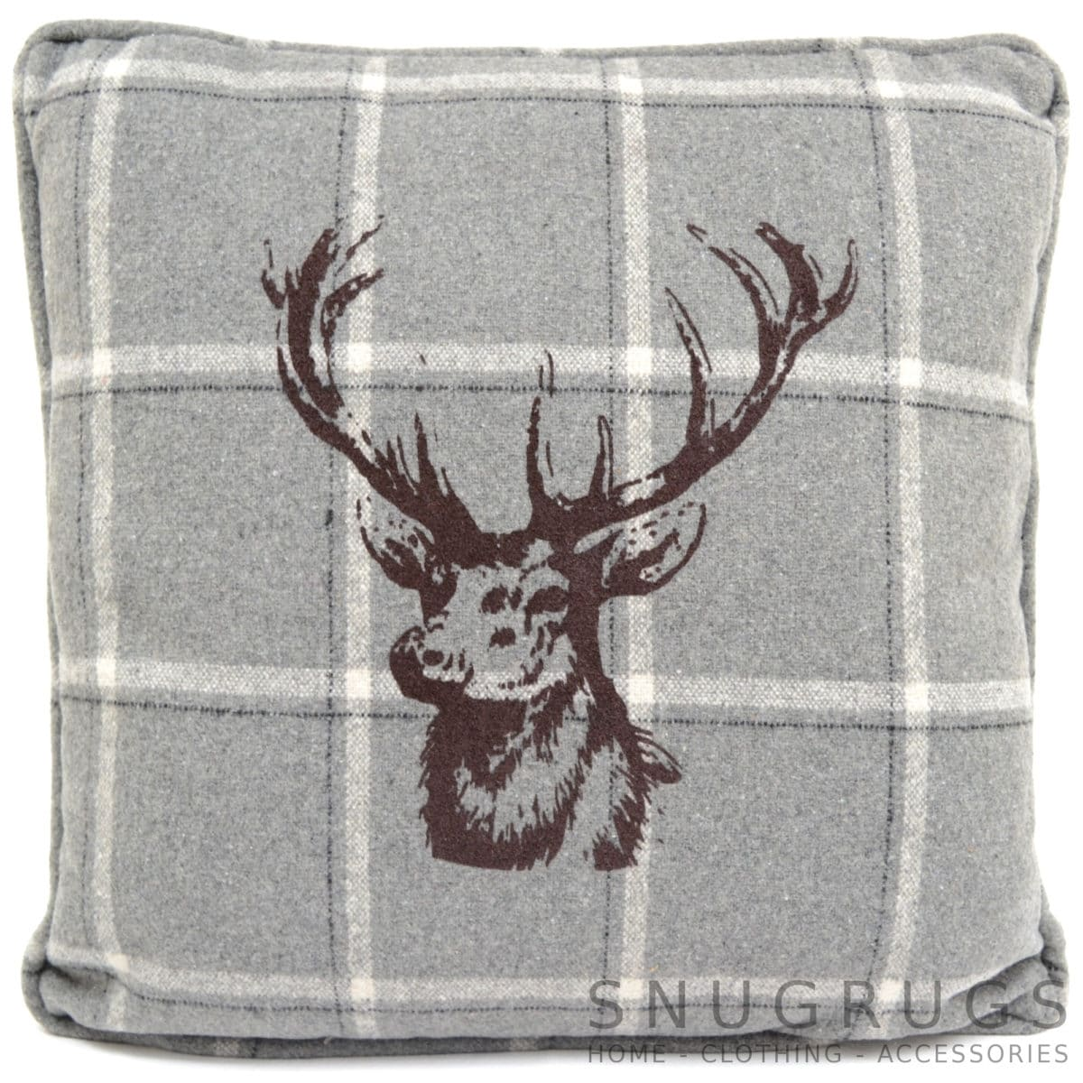 Country Style Checked Stag Head Cushion - Grey/White Checked
