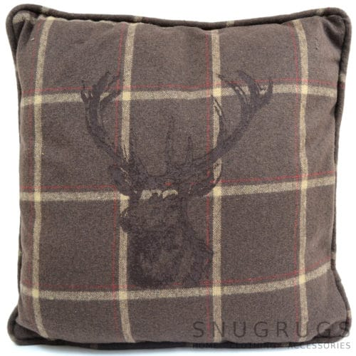 Country Style Checked Stag Head Cushion - Brown/Cream Checked