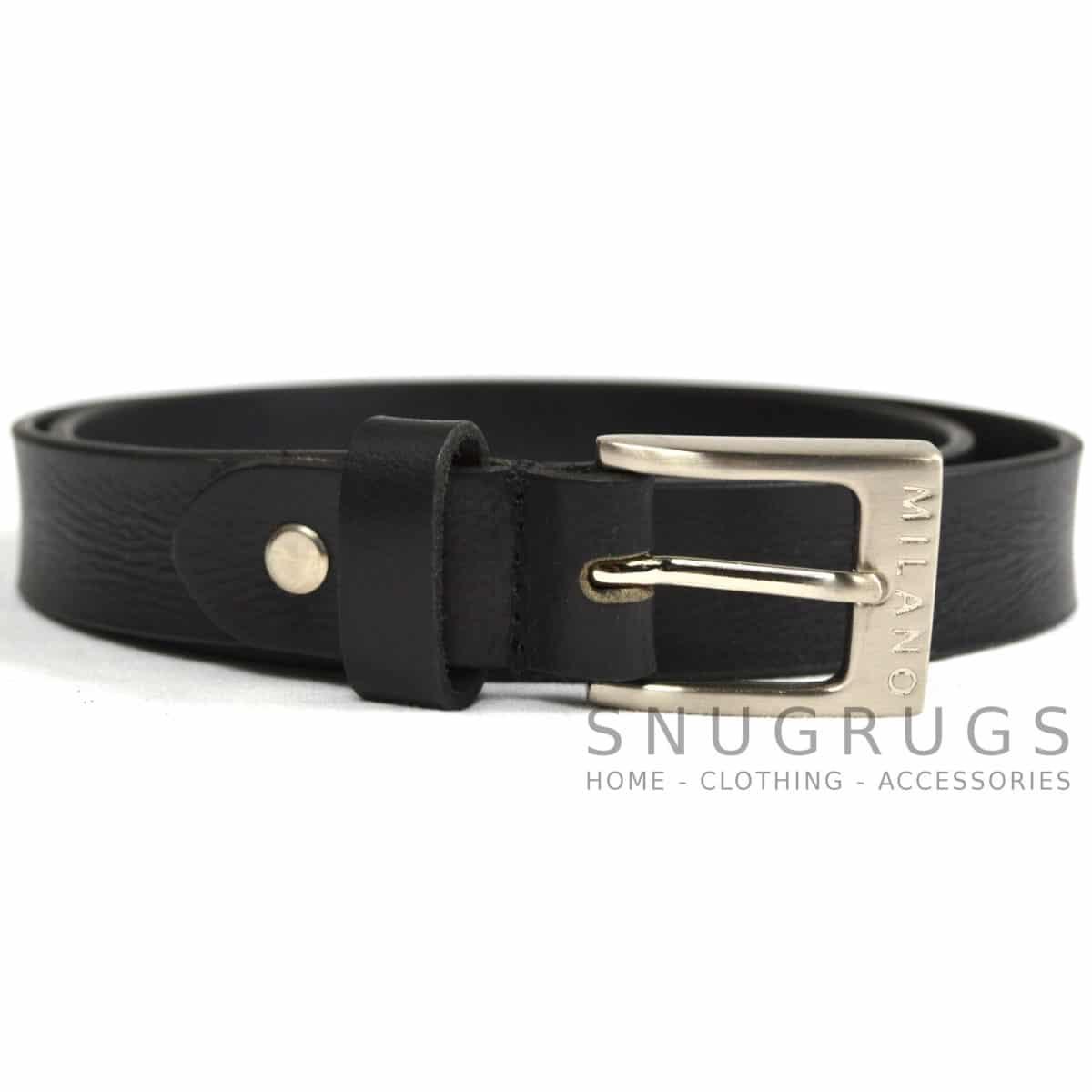 """Full Leather 1"""" Milano Belt - Black"""
