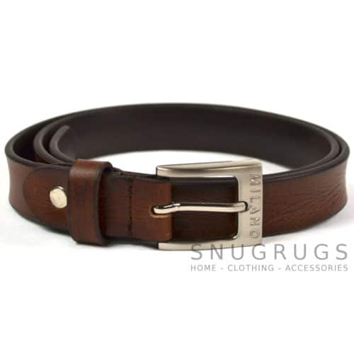 "Full Leather 1"" Milano Belt - Brown"