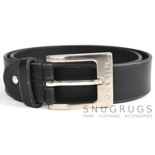 "Full Leather 1.25"" Milano Belt - Black"