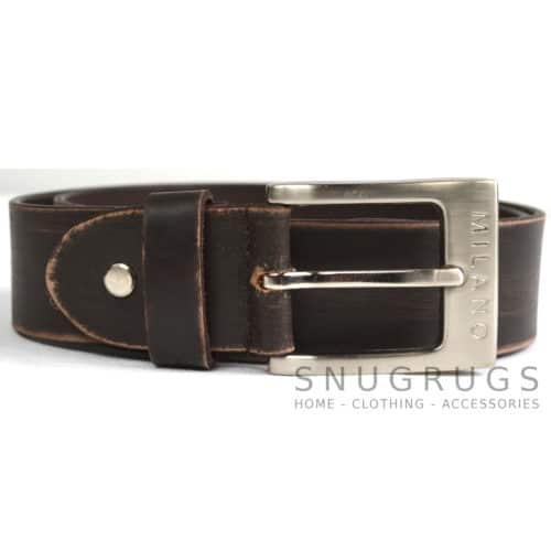 "Full Leather 1.25"" Milano Belt - Brown"
