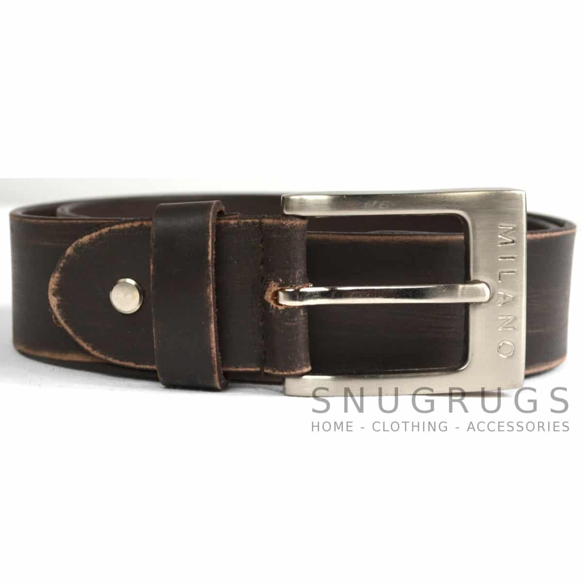 "Full Leather 1.25"" Milano Belt - Brown"