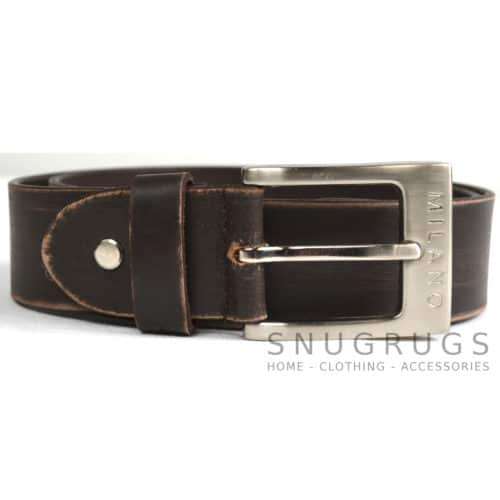 "Full Leather 1.5"" Milano Belt - Brown"