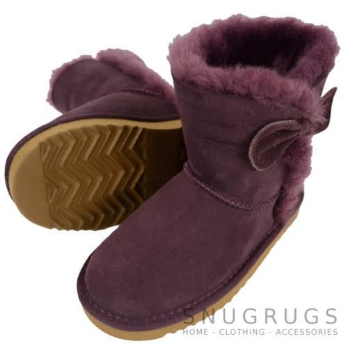 Zara - Kids Sheepskin Boots - Purple