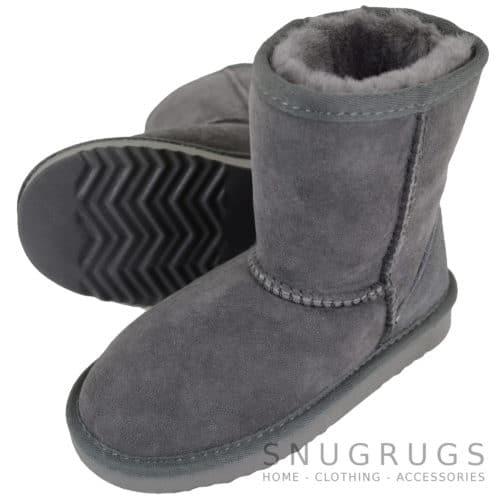 Pixie - Kids Sheepskin Boot - Grey