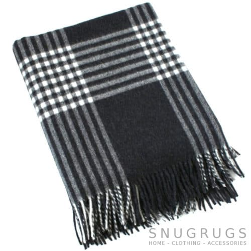 Merino Lambswool Blanket - Charcoal & Winter White