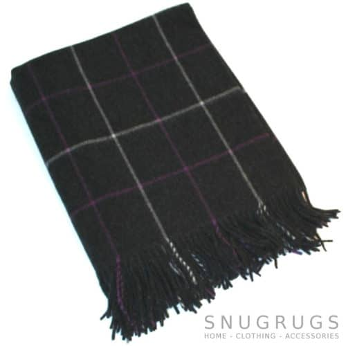 Merino Lambswool Blanket - Charcoal & Deep Purple