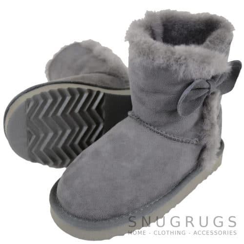Zara - Kids Sheepskin Boots - Grey