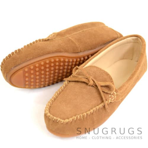 Suede Driving / Outdoor Moccasins - Chestnut