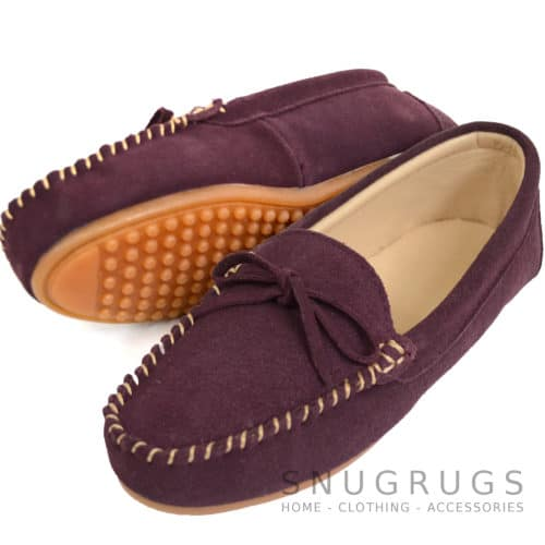 Suede Driving / Outdoor Moccasins - Plum