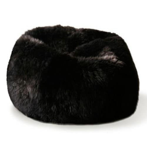 Large Luxury Sheepskin Bean Bag - Black