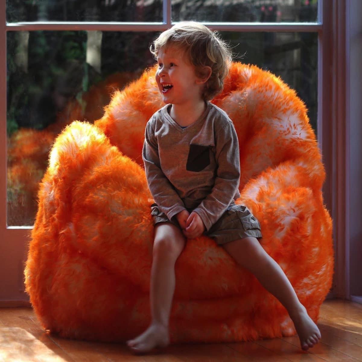 Sheepskin Bean Bag Seat- Orange Tipped