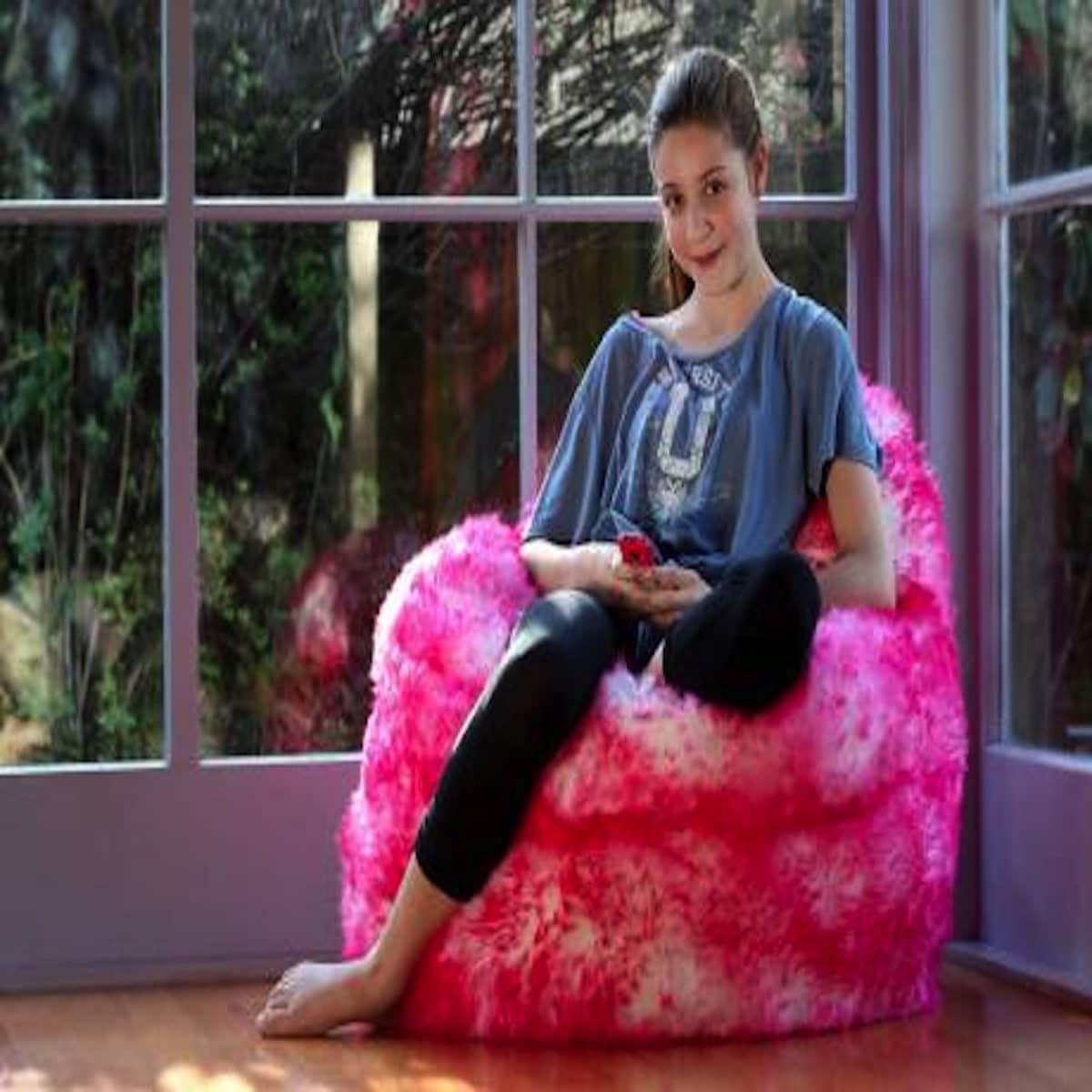 Sheepskin Bean Bag Seat - Pink Tipped