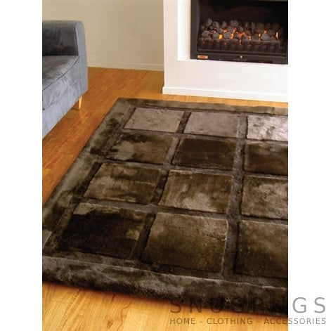 Bowron Squares Shearling Rug - Brown