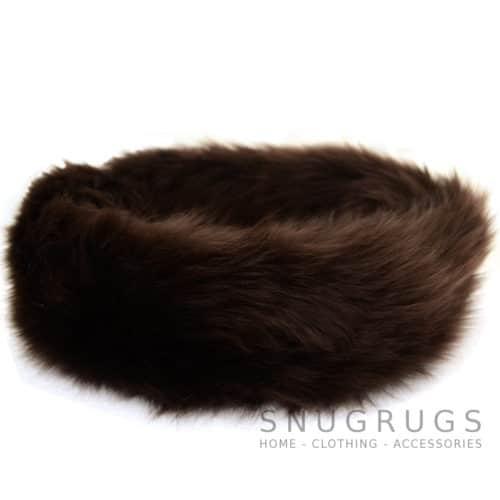 Alexi - Ladies Long Sheepskin Ski Headband - Brown