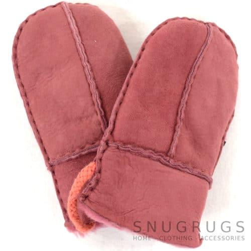 Sheepskin Baby Mittens - Pink