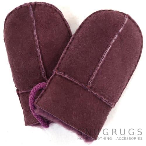 Sheepskin Baby Mittens - Purple