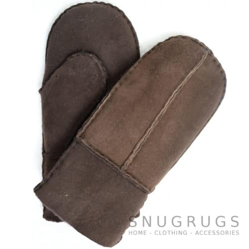 Sheepskin Kids Mittens with Thumb - Brown