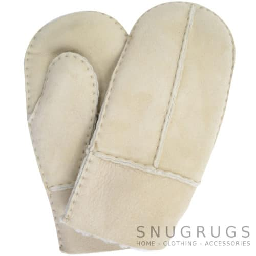 Sheepskin Kids Mittens with Thumb - Sand