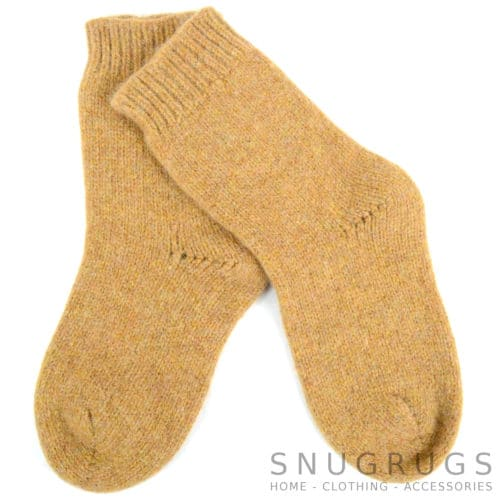 Pure Wool Walking Socks - Camel