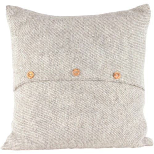 Romney Marsh Wool Cushion - Grey Button - 4 sizes