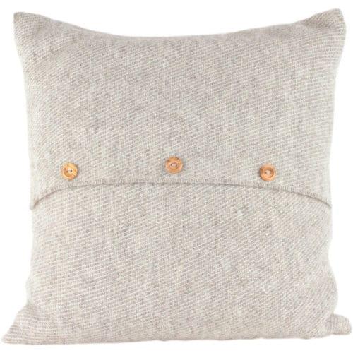 Romney Marsh Wool Cushion - Grey Button - 4 sizes