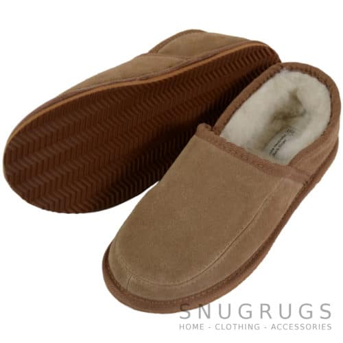 Laurie - Wool Lined Slippers with Hard Sole - Camel