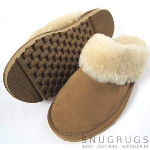 Suzie - Sheepskin Mule Slipper with Cuff - Chestnut