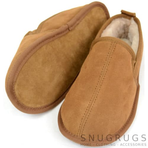 Victor - Sheepskin Slippers with Soft Sole - Chestnut