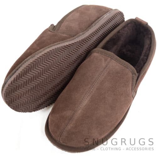 Bertie - Sheepskin Slippers with Hard Sole - Chocolate