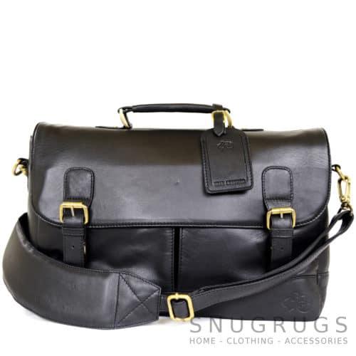 Men's Leather Satchel Bag - Black