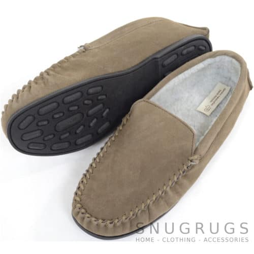 Berber Fleece Lined Suede Moccasin - Taupe
