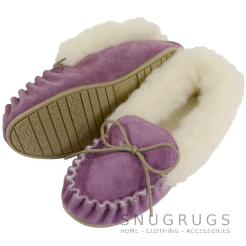 Wool Lined Suede Moccasin with Hard Sole - Purple