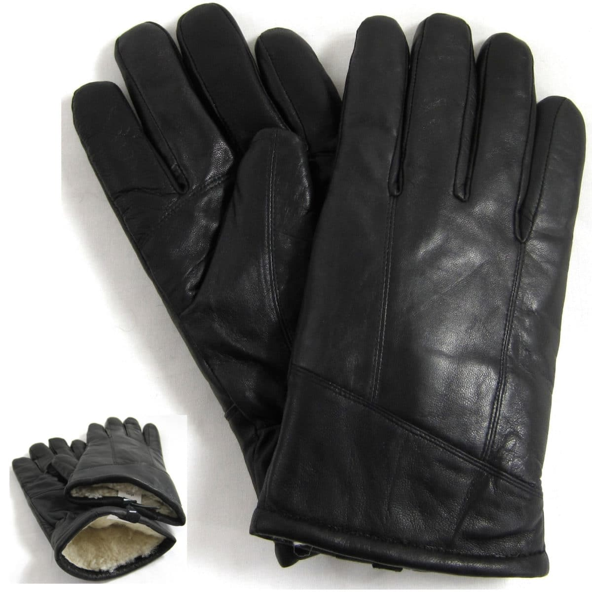 Leather Sheepskin Gloves - Black