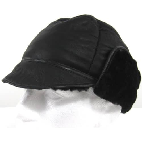 Fenton - Soft Leather Trapper Hat with Sheepskin Lining - Black