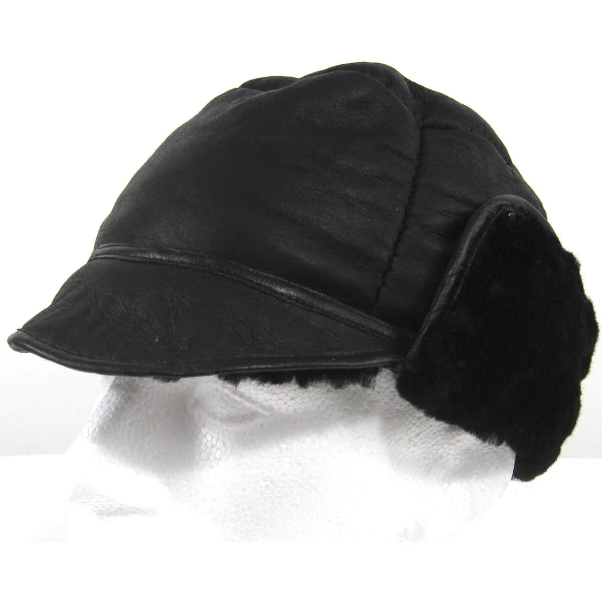 Fenton Soft Leather Trapper Hat With Sheepskin Lining