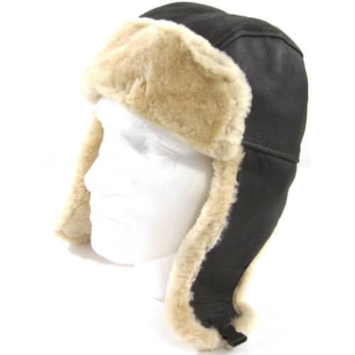 Berti - Soft Nappa Leather Trapper Hat with Sheepskin Inner - Chocolate Forest