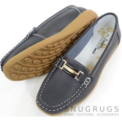 Leather Slip On Flat Shoes - Black